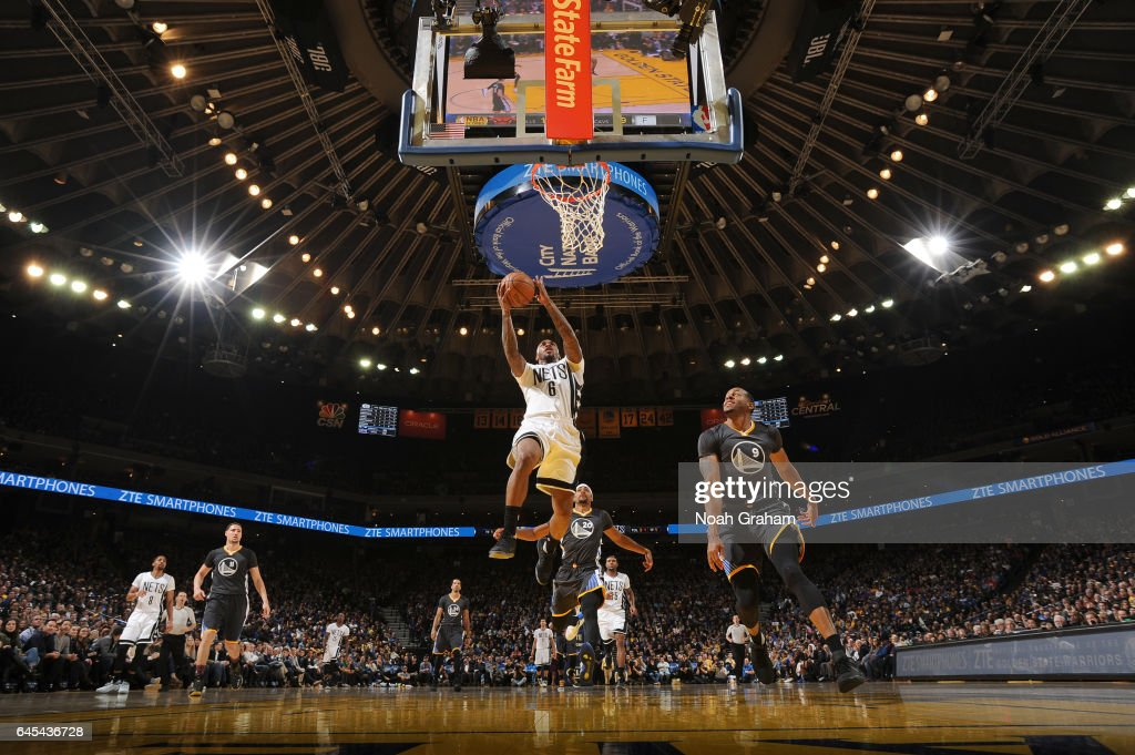 Sean Kilpatrick #6 of the Brooklyn Nets goes to the basket against the Golden State Warriors on February 25, 2017 at ORACLE Arena in Oakland, California.