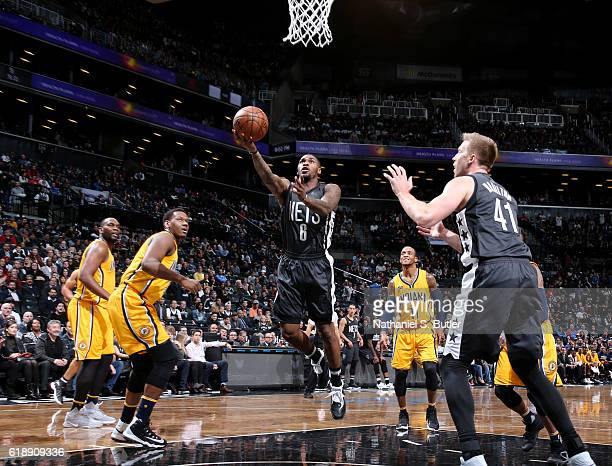 Sean Kilpatrick of the Brooklyn Nets goes up for a shot during a game against the Indiana Pacers on October 28 2016 at Barclays Center in Brooklyn...