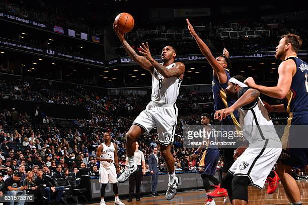 Sean Kilpatrick of the Brooklyn Nets goes up for the layup against the New Orleans Pelicans on January 122017 at Barclays Center in Brooklyn New York...