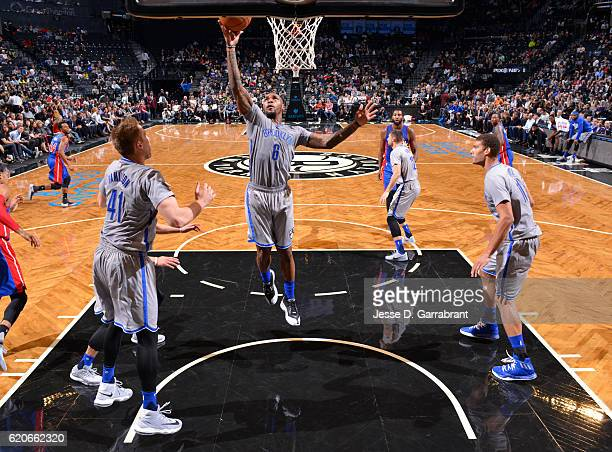 Sean Kilpatrick of the Brooklyn Nets goes up with the ball against the Detroit Pistons on November 22016 at Barclays Center in Brooklyn New York NOTE...