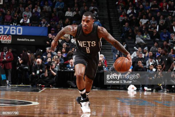 Sean Kilpatrick of the Brooklyn Nets handles the ball against the New York Knicksduring the game on March 12 2017 at Barclays Center in Brooklyn New...