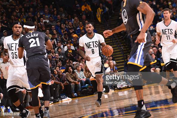 Sean Kilpatrick of the Brooklyn Nets handles the ball against the Golden State Warriors on February 25 2017 at ORACLE Arena in Oakland California...