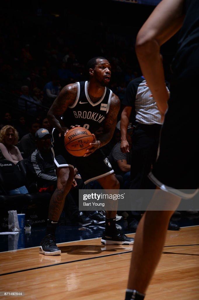 Sean Kilpatrick #6 of the Brooklyn Nets handles the ball against the Denver Nuggets on November 7, 2017 at the Pepsi Center in Denver, Colorado.