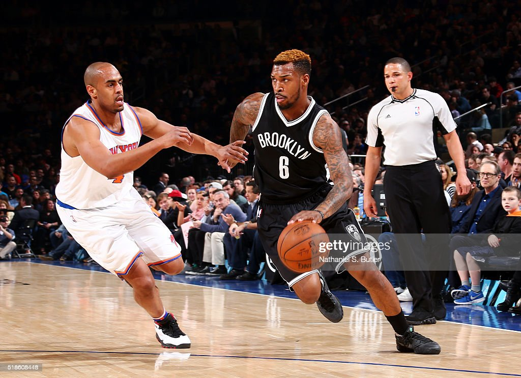 <a gi-track='captionPersonalityLinkClicked' href=/galleries/search?phrase=Sean+Kilpatrick&family=editorial&specificpeople=7444970 ng-click='$event.stopPropagation()'>Sean Kilpatrick</a> #6 of the Brooklyn Nets handles the ball during the game against the New York Knicks on April 1, 2016 at Madison Square Garden in New York City, New York.