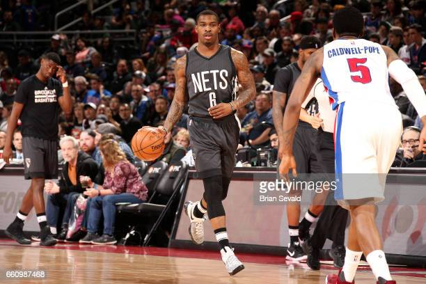 Sean Kilpatrick of the Brooklyn Nets handles the ball during the game against the Detroit Pistons on March 30 2017 at The Palace of Auburn Hills in...