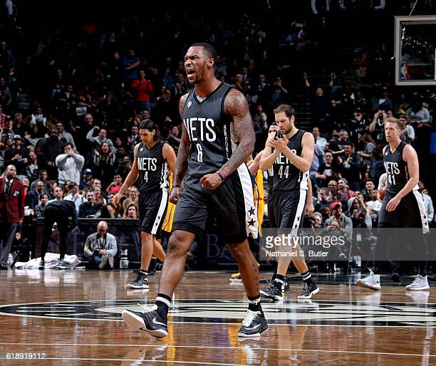 Sean Kilpatrick of the Brooklyn Nets reacts during a game against the Indiana Pacers on October 28 2016 at Barclays Center in Brooklyn New York NOTE...