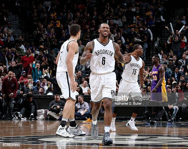 Sean Kilpatrick of the Brooklyn Nets reacts during a game between the Los Angeles Lakers and the Brooklyn Nets on December 14 2016 at Barclays Center...