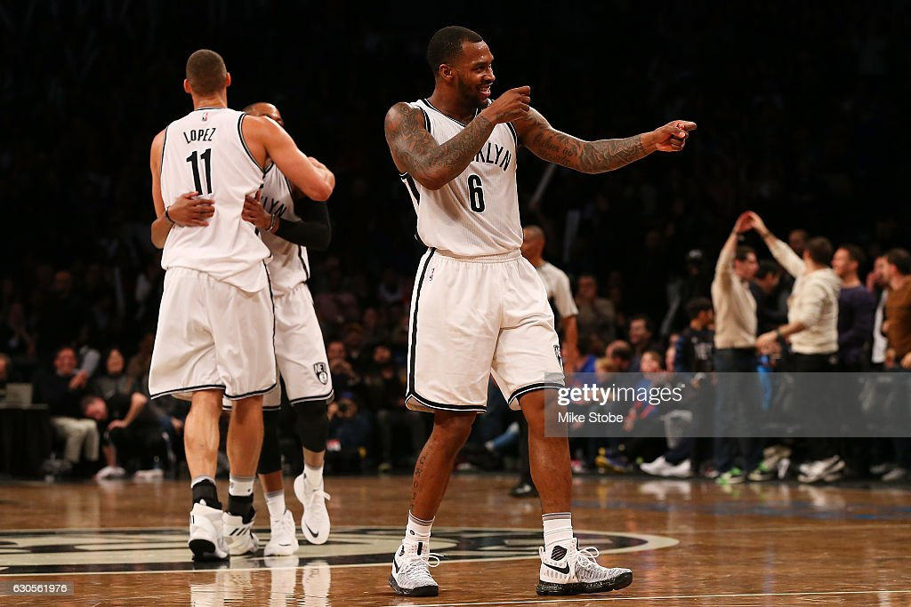 Sean Kilpatrick #6 of the Brooklyn Nets reacts during the game against the Charlotte Hornets at Barclays Center on December 26, 2016 in Brooklyn borough of New York City.