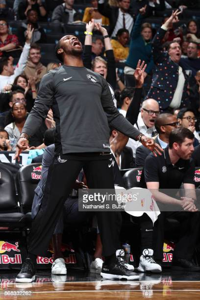 Sean Kilpatrick of the Brooklyn Nets reacts during the game against the Denver Nuggets on October 29 2017 at Barclays Center in Brooklyn New York...