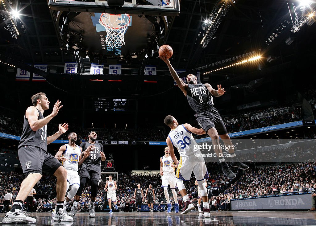 Sean Kilpatrick #6 of the Brooklyn Nets shoots during a game against the Golden State Warriors on December 22, 2016 at Barclays Center in Brooklyn, NY.