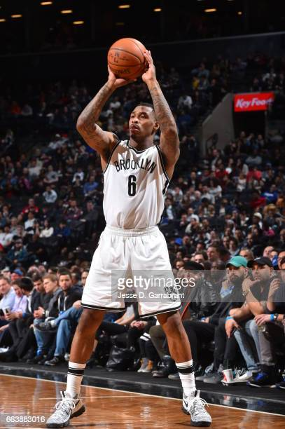 Sean Kilpatrick of the Brooklyn Nets shoots the ball against the Atlanta Hawks on April 2 2017 at Barclays Center in Brooklyn New York NOTE TO USER...