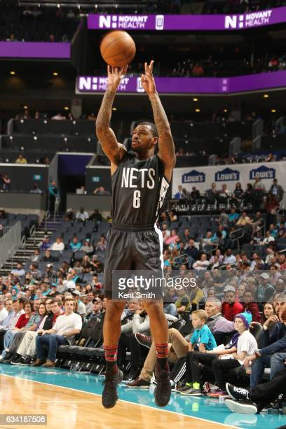 Sean Kilpatrick of the Brooklyn Nets shoots the ball against the Charlotte Hornets during the game on February 7 2017 at Spectrum Center in Charlotte...