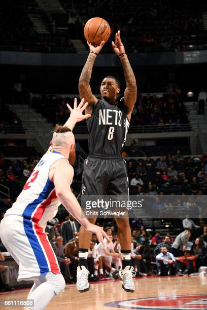 Sean Kilpatrick of the Brooklyn Nets shoots the ball during the game against the Detroit Pistons on March 30 2017 at The Palace of Auburn Hills in...