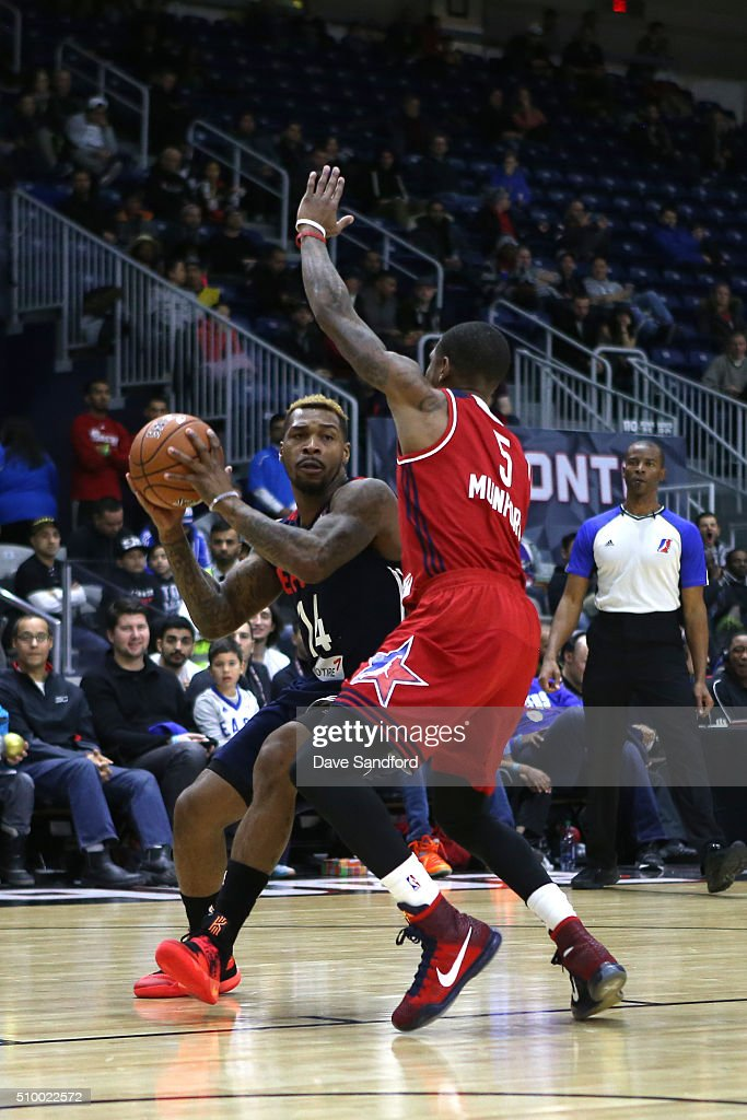 Sean Kilpatrick #14 of the East handles the ball against the West during the NBA D-League All-Star Game 2016 presented by Kumho Tire as part of 2016 All-Star Weekend at the Ricoh Coliseum on February 13, 2016 in Toronto, Ontario, Canada.
