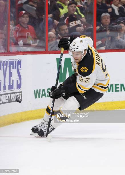 Sean Kuraly of the Boston Bruins skates against the Ottawa Senators in Game Five of the Eastern Conference First Round during the 2017 NHL Stanley...
