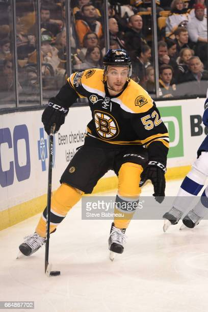 Sean Kuraly of the Boston Bruins skates with the puck against the Tampa Bay Lightning at the TD Garden on April 4 2017 in Boston Massachusetts
