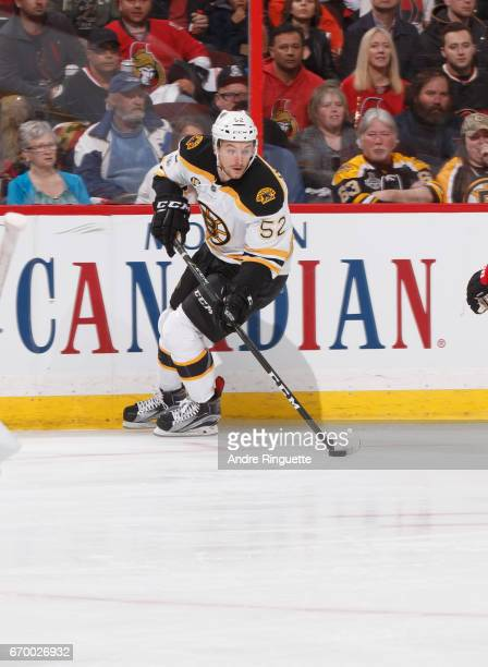 Sean Kuraly of the Boston Bruins stickhandles the puck against the Ottawa Senators in Game Two of the Eastern Conference First Round during the 2017...