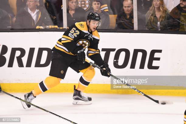 Sean Kurlay of the Boston Bruins skates with the puck against the Ottawa Senators in Game Six of the Eastern Conference First Round during the 2017...