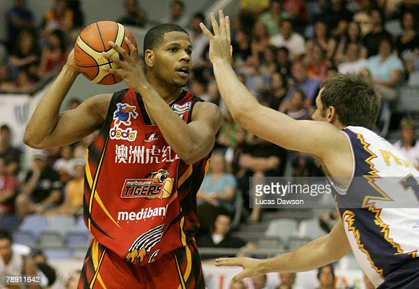 Sean Lampley of the Melbourne Tigers in action during the round 17 NBL match between the Melbourne Tigers and the West Sydney Razorbacks held at the...