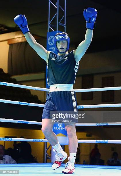 Sean Lazzerini of Scotland celebrates as he defeats Kanongata Antonio of Tonga during the Youth's Light Heavy 81kg Boxing Final at the Tuanaimato...