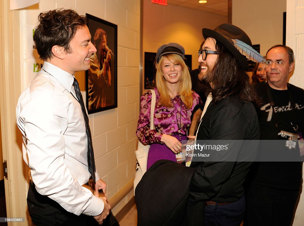 Sean Lennon and Jimmy Fallon backstage during '12-12-12' a concert benefiting The Robin Hood Relief Fund to aid the victims of Hurricane Sandy presented by Clear Channel Media & Entertainment, The Madison Square Garden Company and The Weinstein Company>> at Madison Square Garden on December 12, 2012 in New York City.