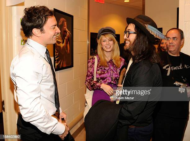 Sean Lennon and Jimmy Fallon backstage during '121212' a concert benefiting The Robin Hood Relief Fund to aid the victims of Hurricane Sandy...