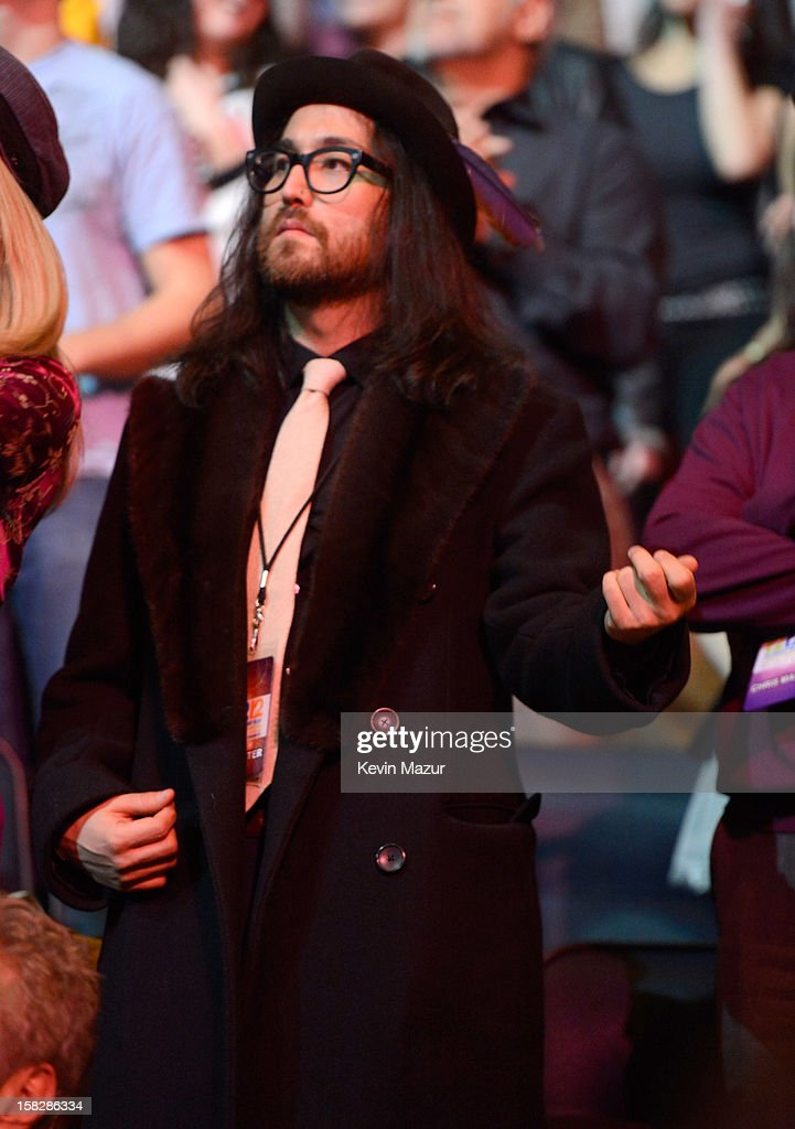 <a gi-track='captionPersonalityLinkClicked' href=/galleries/search?phrase=Sean+Lennon&family=editorial&specificpeople=206368 ng-click='$event.stopPropagation()'>Sean Lennon</a> watches the Rolling Stones perform during '12-12-12' a concert benefiting The Robin Hood Relief Fund to aid the victims of Hurricane Sandy presented by Clear Channel Media & Entertainment, The Madison Square Garden Company and The Weinstein Company>> at Madison Square Garden on December 12, 2012 in New York City.