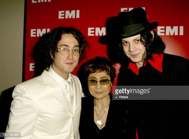 Sean Lennon Yoko Ono and Jack White during EMI 2004 GRAMMY Party at Los Angeles County Museum of Art in Los Angeles California United States