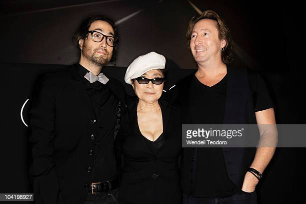 Sean Lennon Yoko Ono and Julian Lennon attend the 'Timeless' photography exhibition opening party at the Morrison Hotel Gallery on September 16 2010...