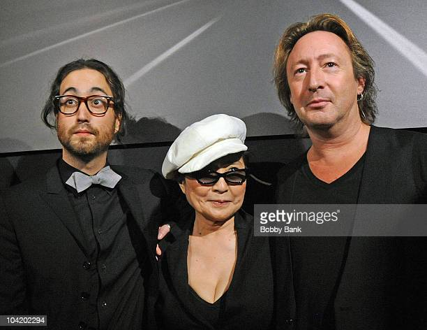 Sean Lennon Yoko Ono and Julian Lennon attends the 'Timeless' photography exhibition opening party at the Morrison Hotel Gallery on September 16 2010...