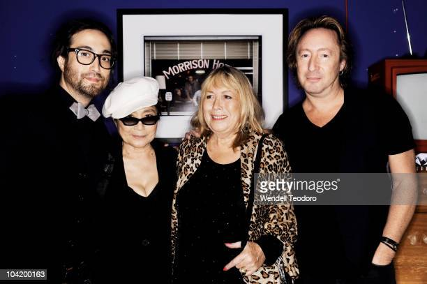 Sean Lennon Yoko Ono Cynthia Lennon and Julian Lennon attends the 'Timeless' photography exhibition opening party at the Morrison Hotel Gallery on...