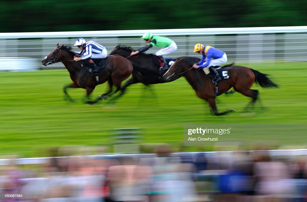 Sean Levey riding Dursey Island win The Frankie's 27th Anniversary Maiden Stakes at Goodwood racecourse on June 13, 2014 in Chichester, England.