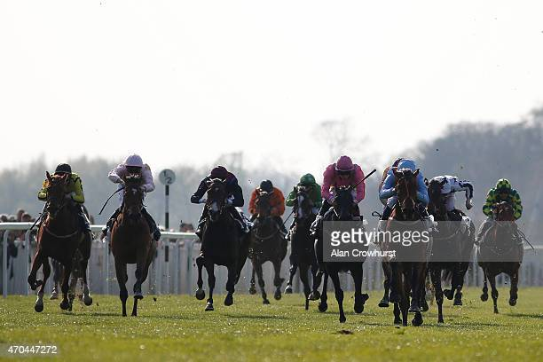 Sean Levey riding Great Page win The Bet On The IPL With Unibet Maiden Auction Fillies' Stakes at Windsor racecourse on April 20 2015 in Windsor...
