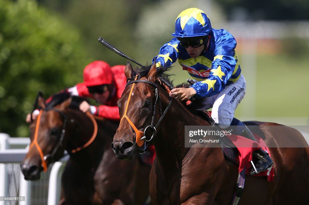 Sean Levey riding Larchmont Lad win The Longines Irish Champions Weekend EBF Maiden Stakes at Sandown Park on July 01, 2016 in Esher, England.