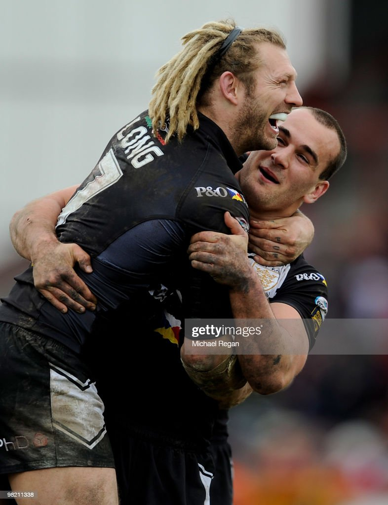 Sean Long and Danny Houghton of Hull FC celebrate victory after the engage Super League match between Hull Kingston Rovers and Hull FC at Craven Park...