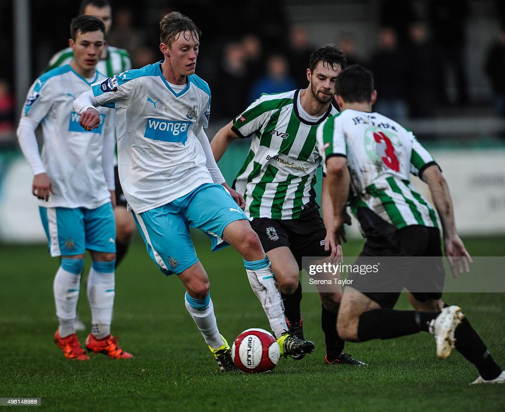 Sean Longstaff (L) of Newcastle controls the ball during The Northumberland Senior Cup match between Blyth Spartans and Newcastle United at Croft Park on November 7, 2015, in Blyth, England.