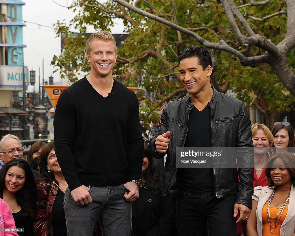 Sean Lowe (L) and Mario Lopez visit Extra at The Grove on February 5, 2013 in Los Angeles, California.