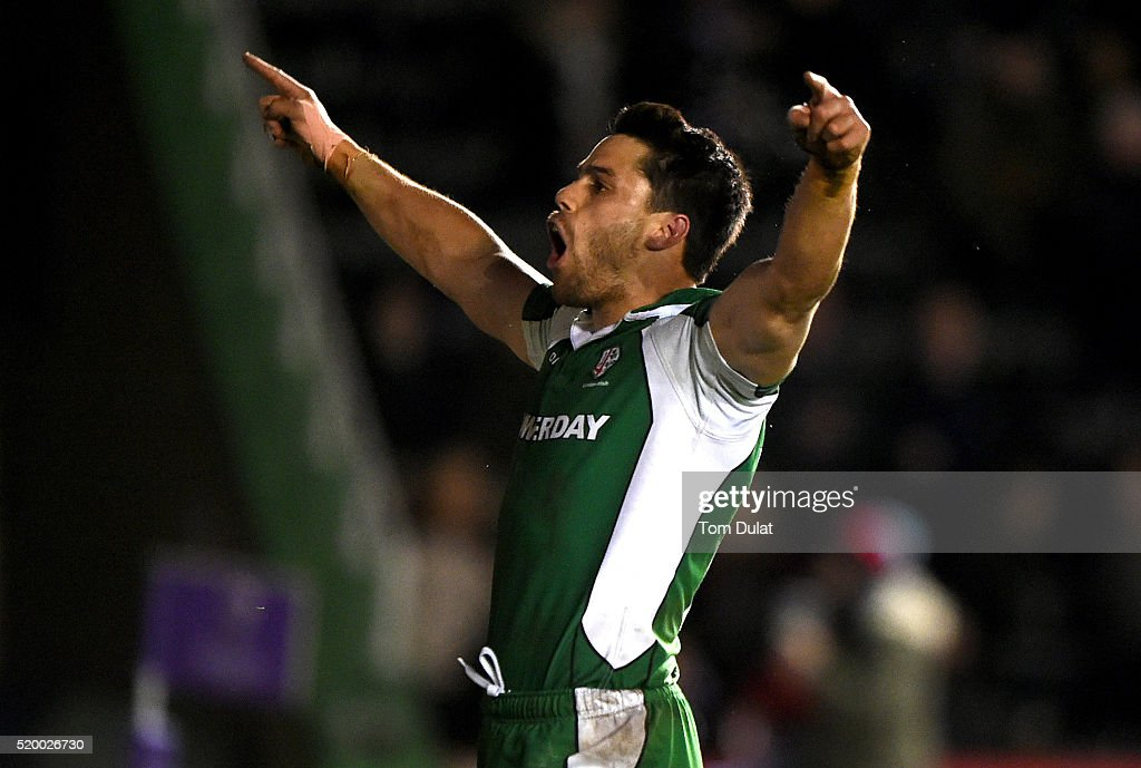 Sean Maitland of London Irish celebrates scoring a try during the European Rugby Challenge Cup Quarter Final match between Harlequins and London...