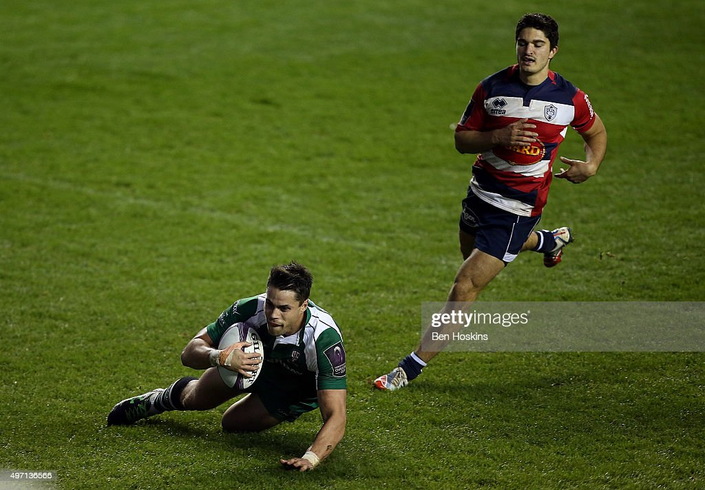 Sean Maitland of London Irish dives over to score a try during the European Rugby Challenge Cup match between London Irish and Agen at Madejski...