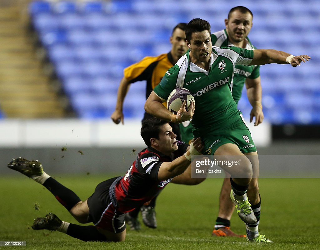 Sean Maitland of London Irish is tackled by Sam HidalgoClyne of Edinburgh during the European Rugby Challenge Cup match between London Irish and...