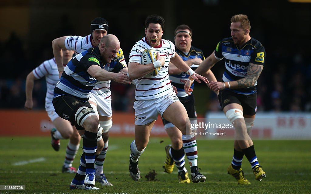 Sean Maitland of London Irish looks to attack during the Aviva Premiership match between Bath Rugby and London Irish at The Recreation Ground on...