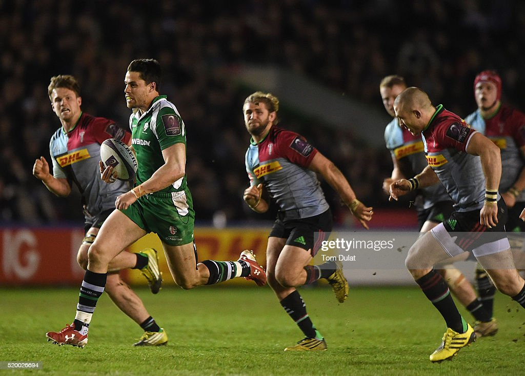 Sean Maitland of London Irish runs to score a try during the European Rugby Challenge Cup Quarter Final match between Harlequins and London Irish at...