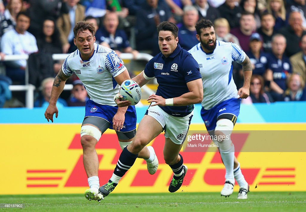 Sean Maitland of Scotland breaks free of the Samoan defence during the 2015 Rugby World Cup Pool B match between Samoa and Scotland at St James' Park...