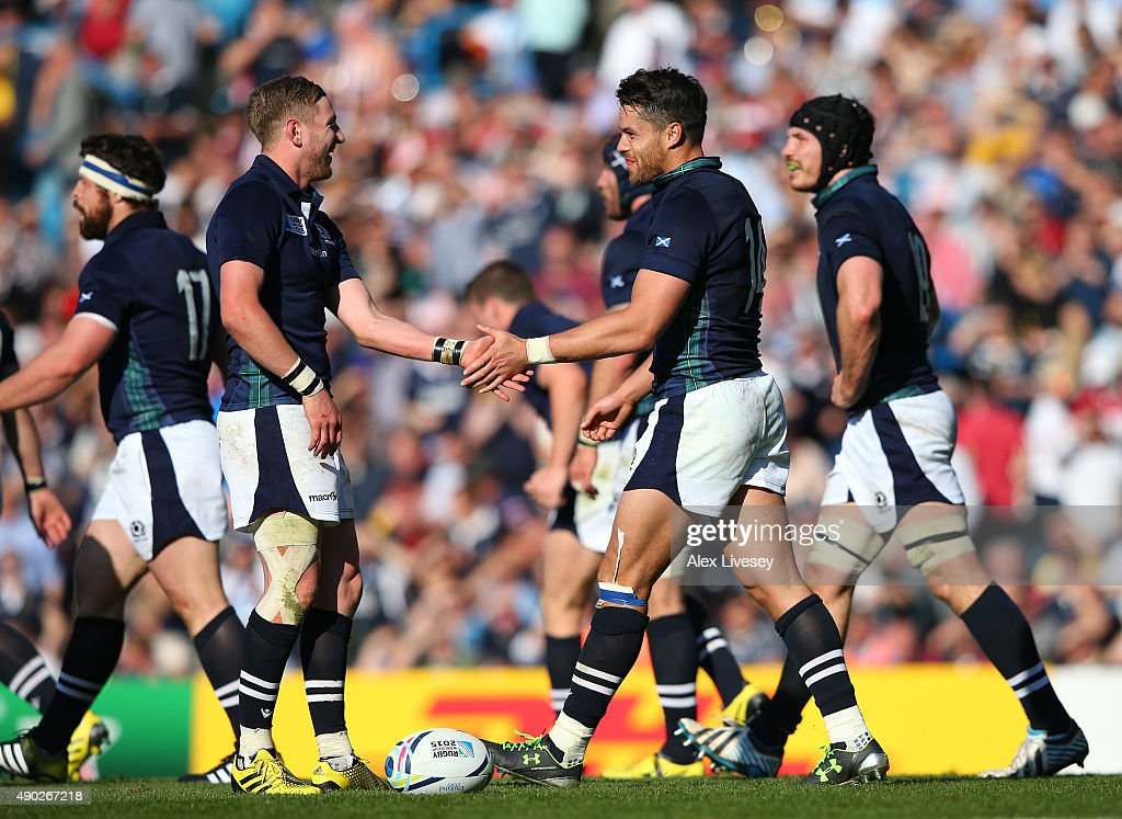 Sean Maitland of Scotland celebrates scoring his teams second try during the 2015 Rugby World Cup Pool B match between Scotland and USA at Elland...