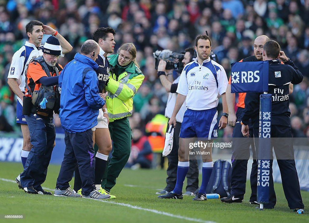 Sean Maitland of scotland is injured during RBS Six Nations match between Ireland and Scotland at the Aviva Stadium on February 2 2014 in Dublin...