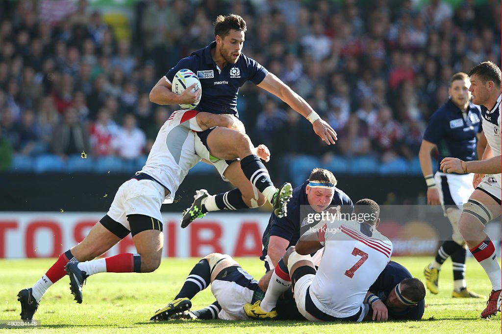 Sean Maitland of Scotland makes a break during the 2015 Rugby World Cup Pool B match between Scotland and USA at Elland Road on September 27 2015 in...