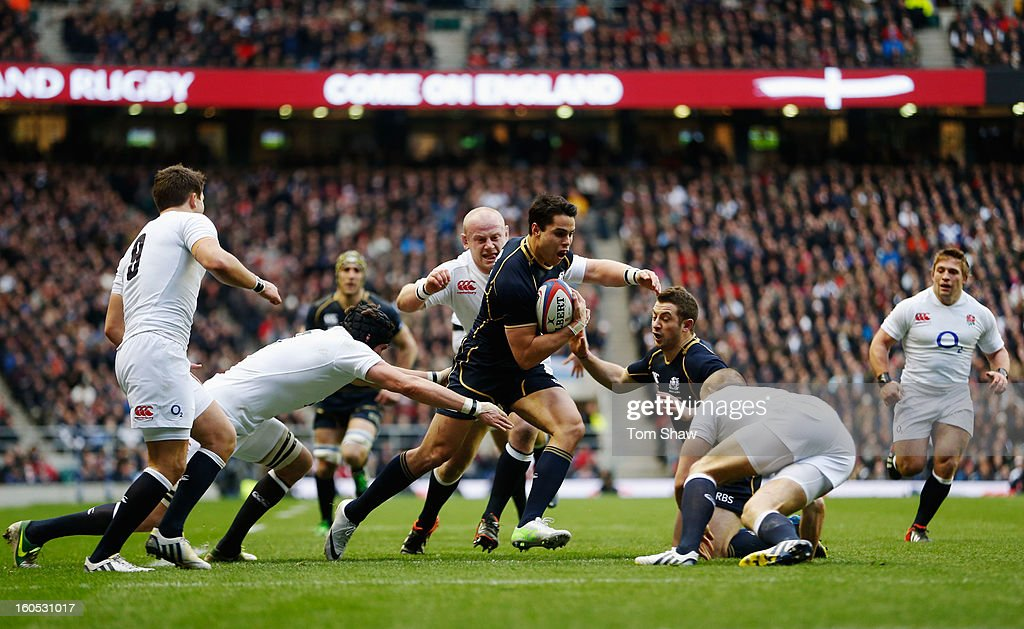 Sean Maitland of Scotland runs at the English defence during the RBS Six Nations match between England and Scotland at Twickenham Stadium on February...