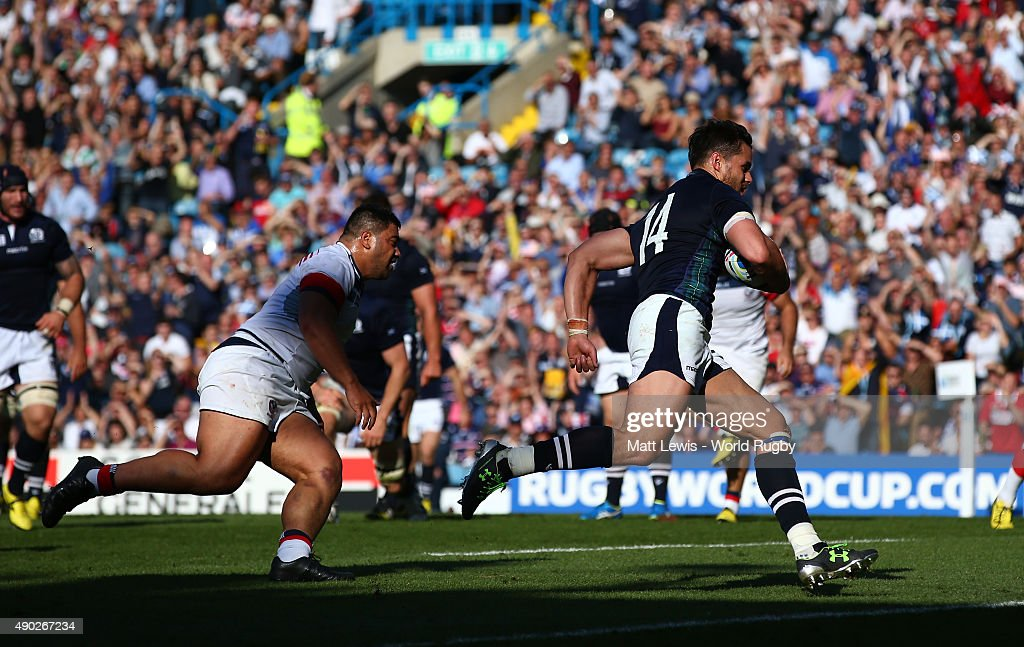 Sean Maitland of Scotland scores his teams second try during the 2015 Rugby World Cup Pool B match between Scotland and USA at Elland Road on...