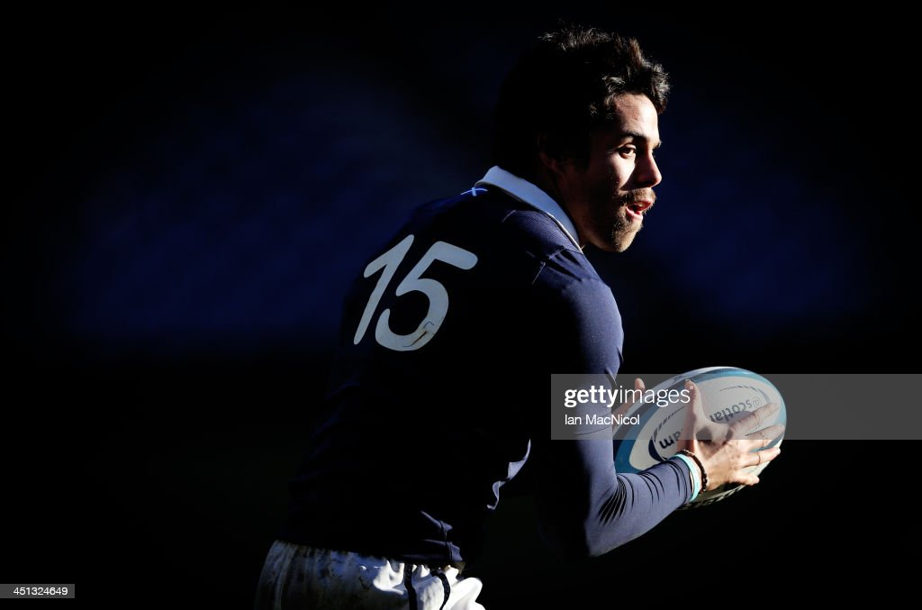 Sean Maitland of Scotland takes part in The Captains Run at Murrayfield stadium prior to their Test Match against Australia on November 22 2013 in...