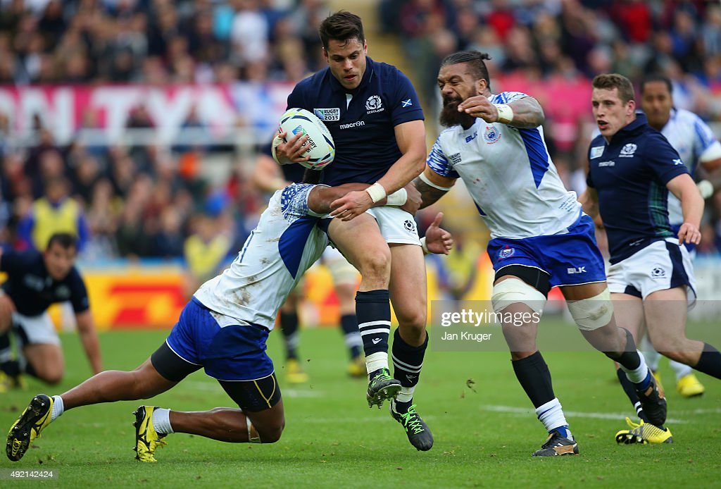 Sean Maitland of Scotland tries to break free during the 2015 Rugby World Cup Pool B match between Samoa and Scotland at St James' Park on October 10...
